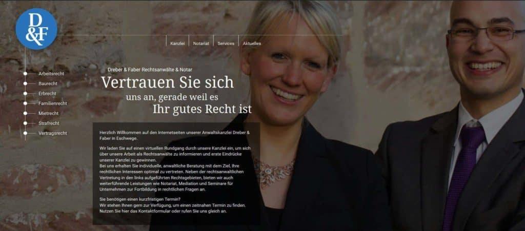 Webseitenentwicklung Dreber und Faber Rechtsanwälte