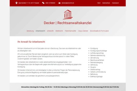 Lockruf Referenz - Webdesign Rechtsanwalt Claus Decker